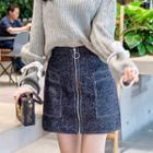 Plain Zip Mini Skirt
