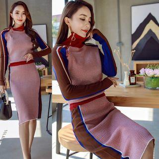 Mock Neck Zipped Color Block Knit Midi Dress