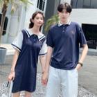 Couple Matching Contrast Trim Short-sleeve Collared Dress / Short-sleeve Polo Shirt / Plain Shorts