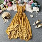 Striped Open-back Sleeveless Dress