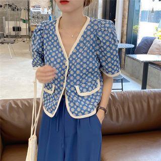 Short-sleeve Contrast Trim Floral Cardigan / High-waist Plain Pants