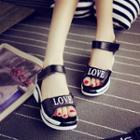 Platform Lettering Sandals