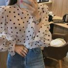 Balloon-sleeve Polka-dotted Blouse Ivory - One Size