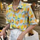 Lemon Print Elbow-sleeve Shirt