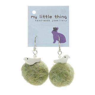 Green Felt Ball Ball Bird Earrings