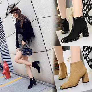 Studded Block Heel Ankle Boots / Pumps