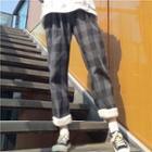 Cropped Furry-trim Plaid Pants Black - One Size