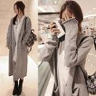 Pocketed Long Cardigan Light Gray - One Size