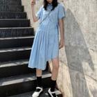 Short-sleeve Laceup String Accordion Pleat Shirtdress