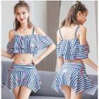 Set: Striped Printed Swim Top + Swim Skirt