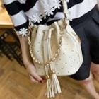Faux Leather Tasseled Bucket Bag