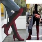 Faux Suede Panel High-heel Over-the-knee Boots