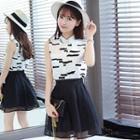 Set: Sleeveless Shirt + Sheer Panel Skirt
