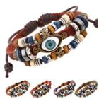 Eye Beaded Layered Genuine Leather Bracelet