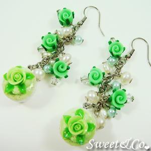 Sweet Mini Green Glitter Cupcake Floral Pearl Earrings