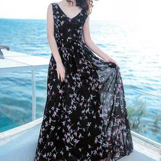 Bird Print Sleeveless Maxi Chiffon Dress