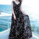 Bird Print Sleeveless Maxi Chiffon Dress