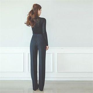 High-waist Striped Wide-leg Pants