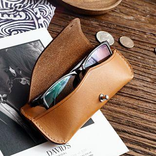 Faux Leather Eyeglasses Case Brown - One Size