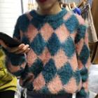 Argyle Furry Sweater