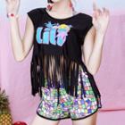 Set: Printed Bikini + Fringed Sleeveless Top + Shorts