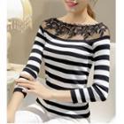 Lace Yoke Striped Knit Top