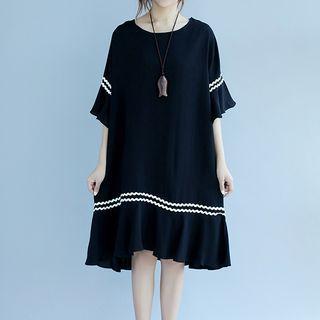 Contrast Trim Elbow Sleeve Midi Dress