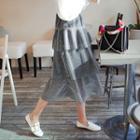 Tiered Glittered A-line Long Skirt
