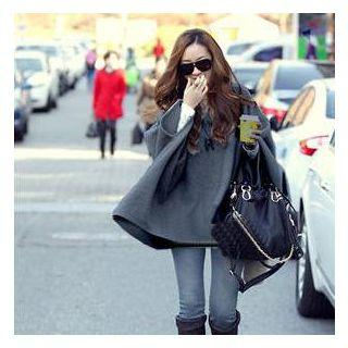 3/4-sleeve Hooded Cape Top
