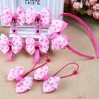Set Of 7: Bow Hair Clip + Hair Tie + Hair Band
