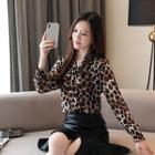 Leopard Long-sleeve Chiffon Blouse