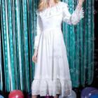 Ruffled Lace Panel Dress