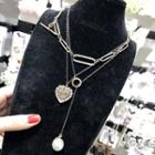 Faux Pearl Rhinestone Heart Pendant Layered Necklace As Shown In Figure - One Size