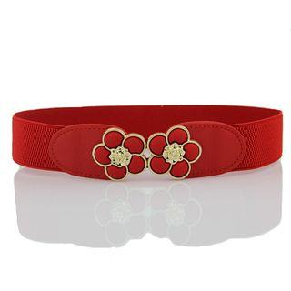 Elastic Flower Buckle Belt