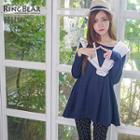 Long-sleeve Mock Two Piece Frilled Tunic
