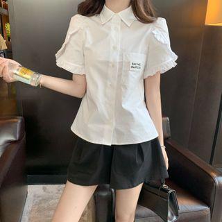 Puff-sleeve Ruffled Shirt / A-line Shorts