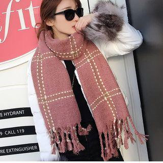 Fringed Padded Knit Scarf