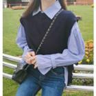 Pinstriped Shirt / Plain Knit Vest