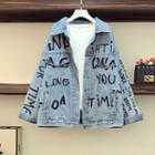 Washed Lettering Embroidered Denim Jacket