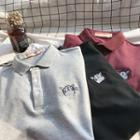 Cat Embroidered Short Sleeve Polo Shirt