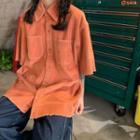 Elbow-sleeve Corduroy Shirt