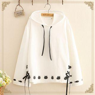 Cat & Fish Print Lace-up Detail Hoodie