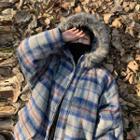 Plaid Furry Hooded Zipped Jacket