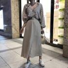 Plaid Blouse / A-line Maxi Skirt