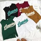 Lettering Sleeveless Slit T-shirt