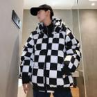 Hooded Padded Plaid Zip Jacket