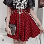 Plaid Mini Suspender Skirt