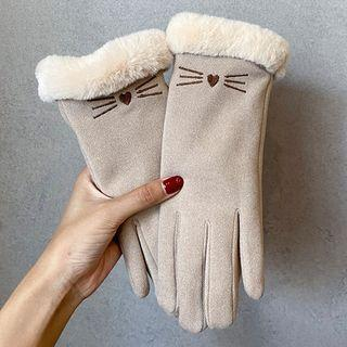 Cat Embroidered Fleece-lined Touchscreen Gloves
