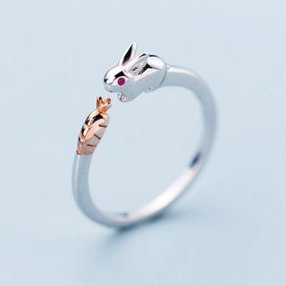 925 Sterling Silver Rabbit & Carrot Open Ring S925 Silver - As Shown In Figure - One Size