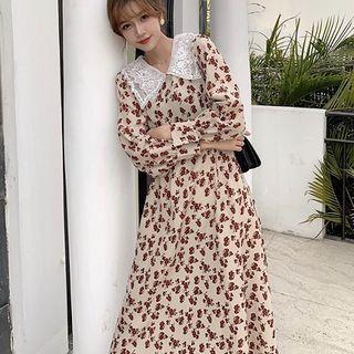 Lace Floral Print Long-sleeve Dress